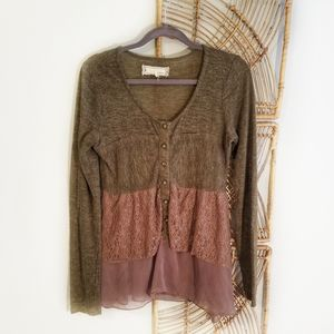 A'reve Anthropologie Brown Tier Top Lace Sheer